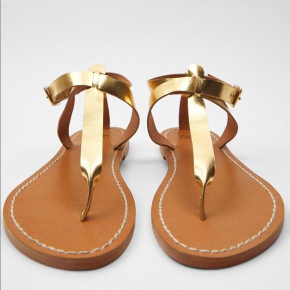 COPY - NWT Zara gold leather sandals
